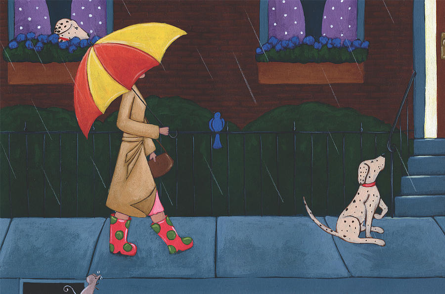 Rain Painting - A Walk on a Rainy Day by Christy Beckwith