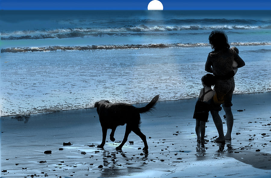 Moonlight Photograph - A Walk On The Beach by Mike Flynn