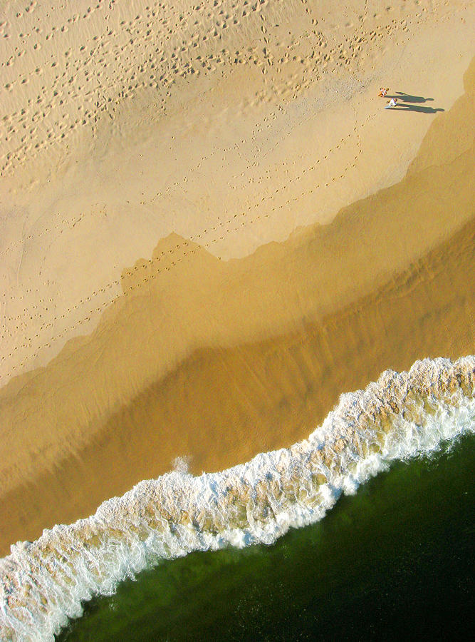 Pixels Photograph - A Walk On The Beach. A Kite Aerial Photograph. by Rob Huntley