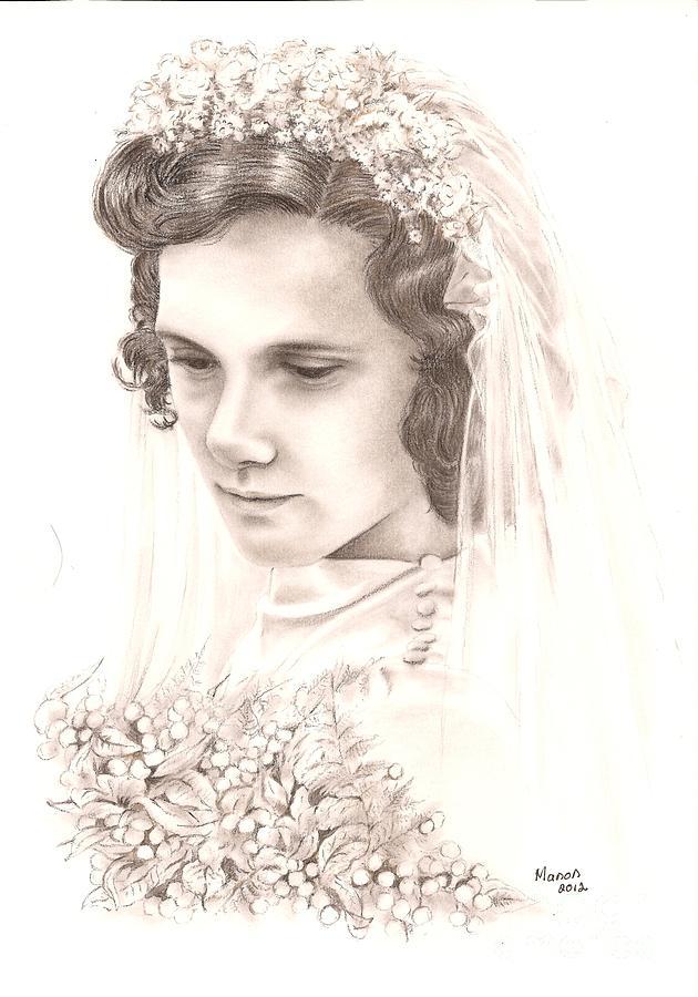 War Drawing - A War Bride by Manon  Massari