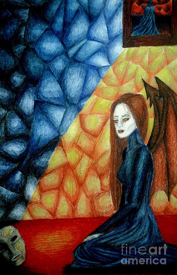 Watcher Drawing - A Watchers Tears by Coriander  Shea