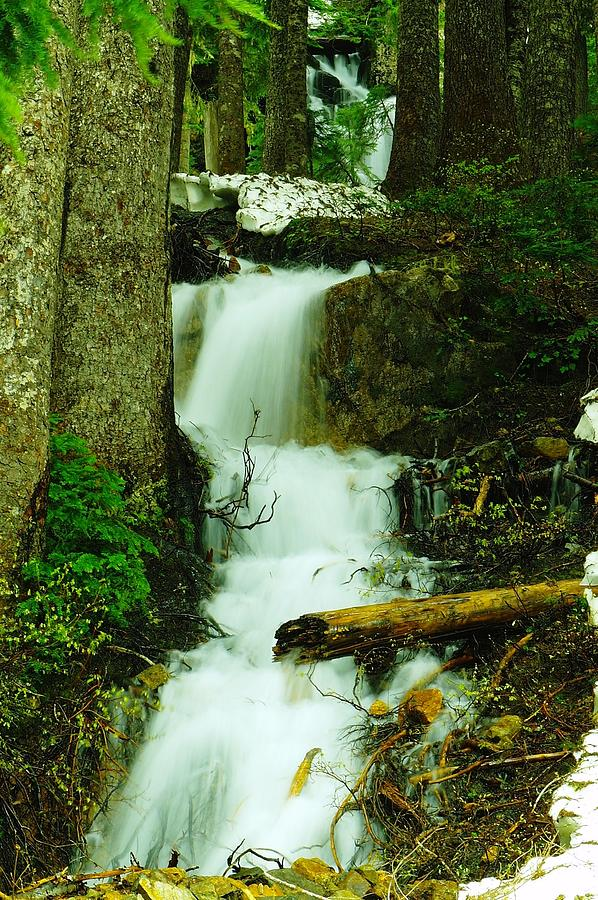 Snow Photograph - A Waterfall In Spring Thaw by Jeff Swan