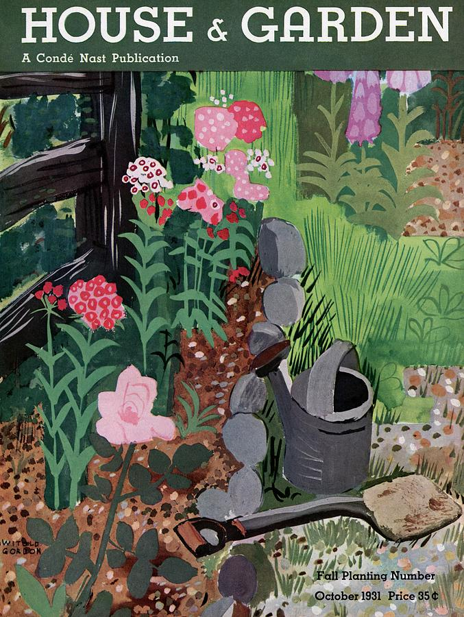 A Watering Can And A Shovel By A Flower Bed Photograph by Witold Gordon