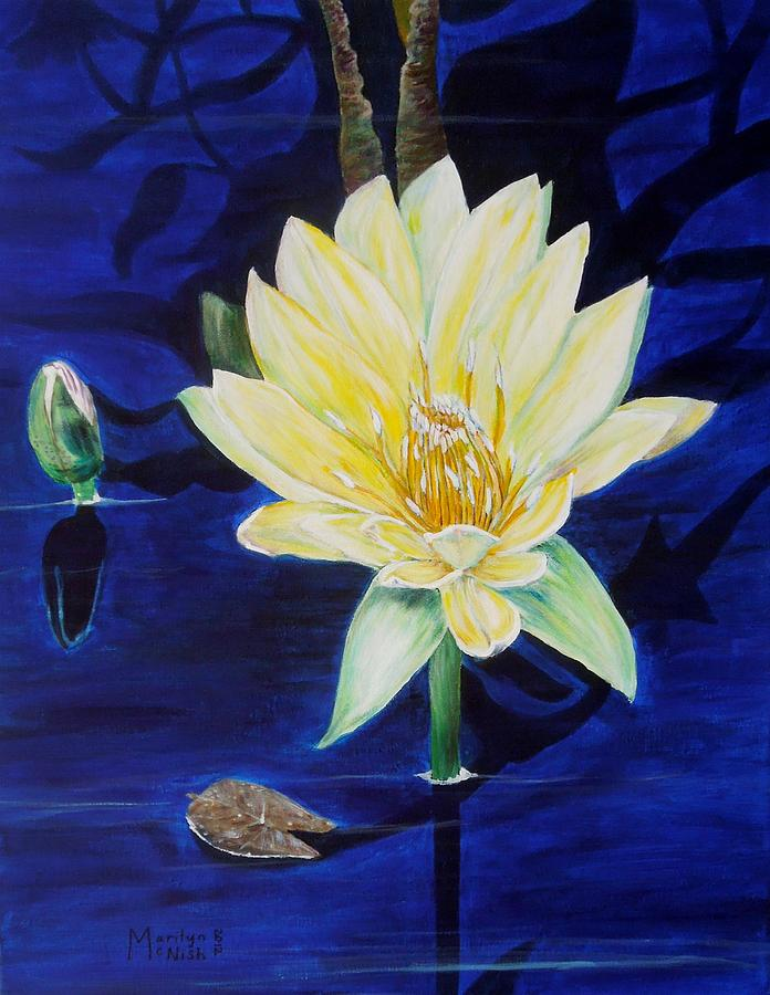 Waterlily Painting - A Waterlily by Marilyn  McNish