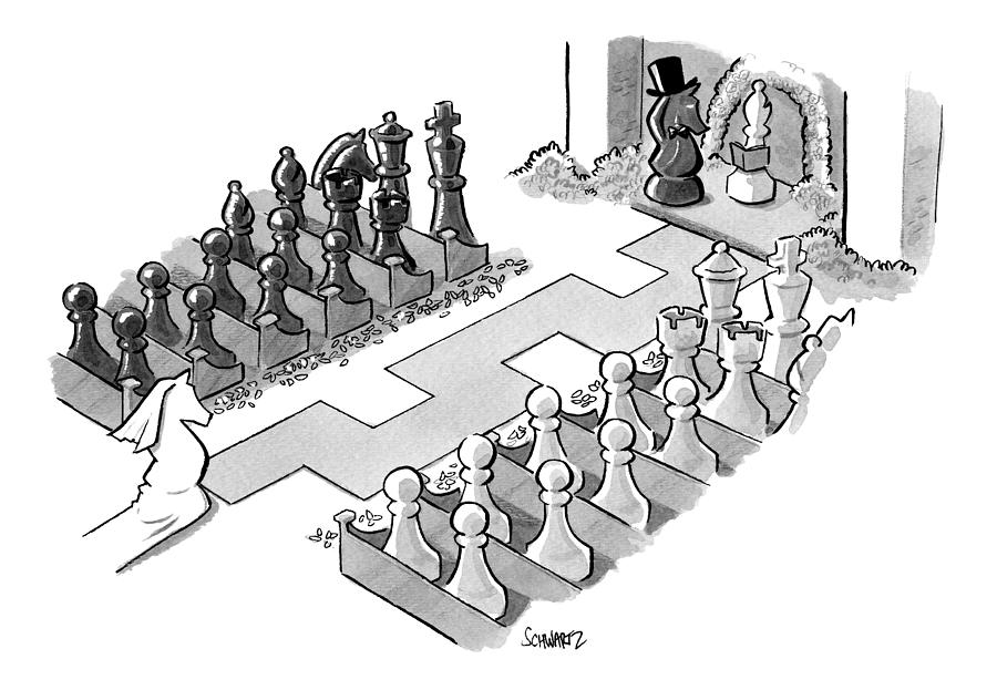 A Wedding In Which The Characters Are All Chess Drawing by Benjamin Schwartz