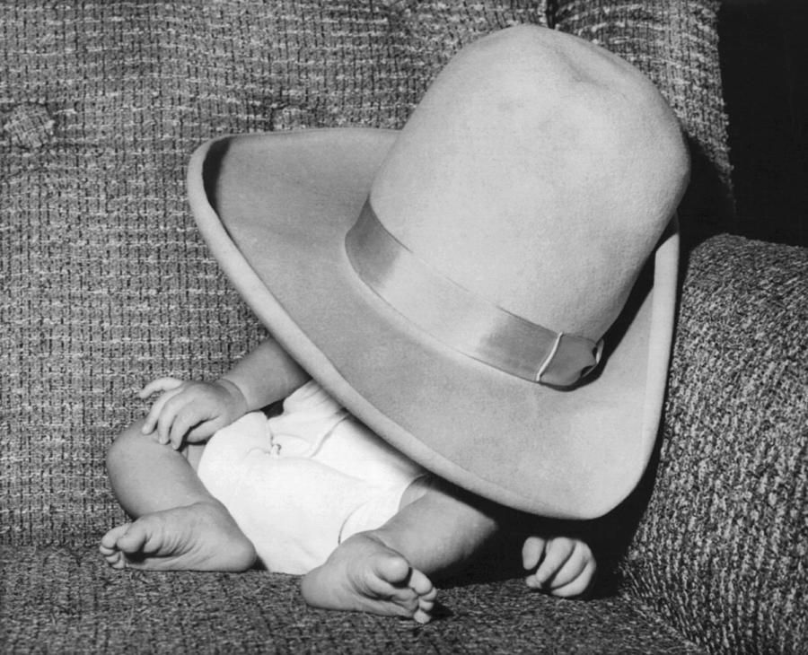 1966 Photograph - A Wee Weary Cowpoke by Underwood Archives