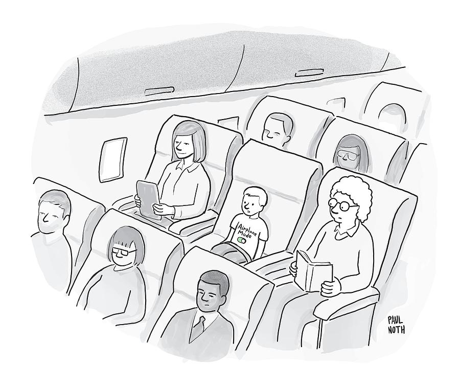 A Well-behaved Boy On An Airplane Wears A T-shirt Drawing by Paul Noth