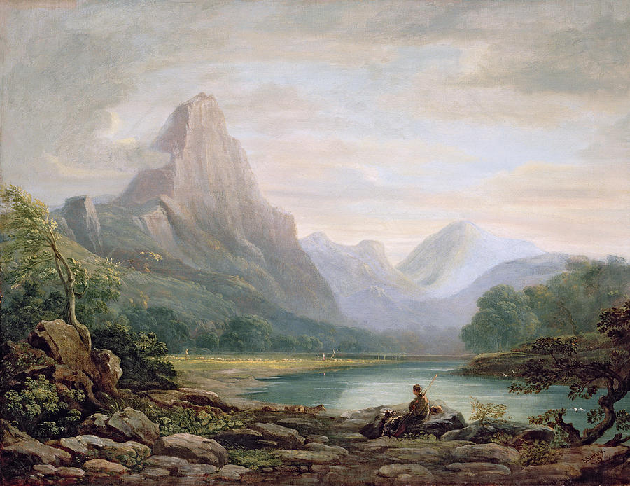 Landscape Painting - A Welsh Valley, 1819 by John Varley