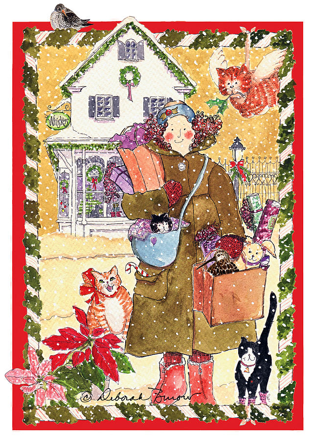 Gift Bags Painting - A Whiskers And Piper Christmas by Deborah Burow