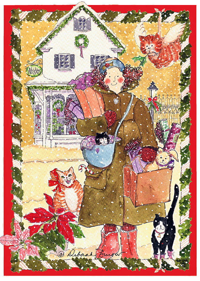 Christmas Shopping Painting - A Whiskers Christmas by Deborah Burow