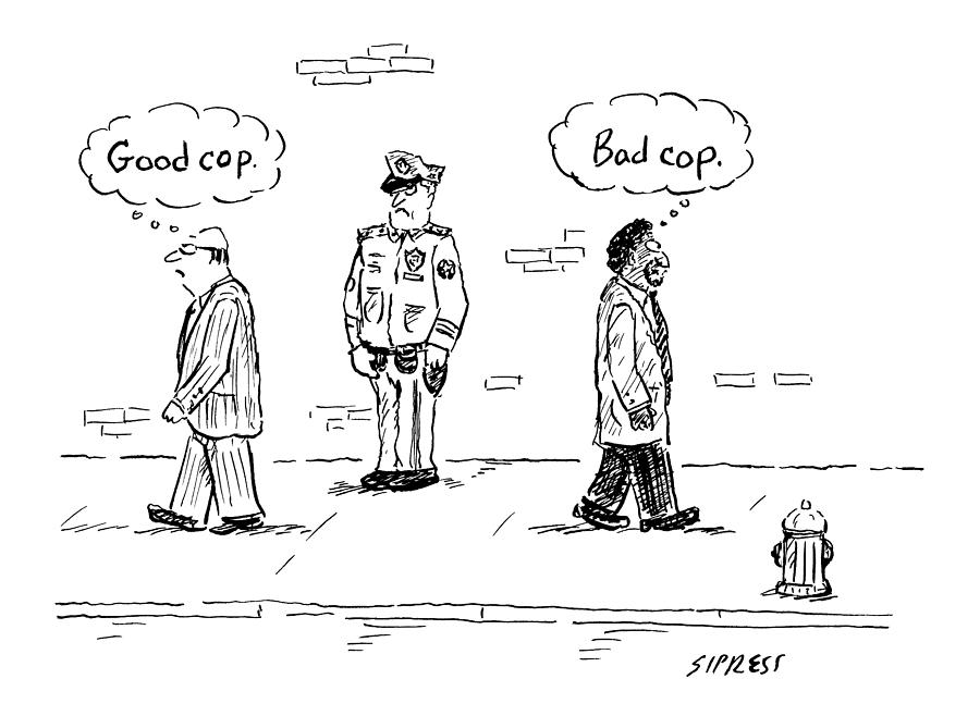 A White Man Passes A Police Officer Thinking Good Drawing By David