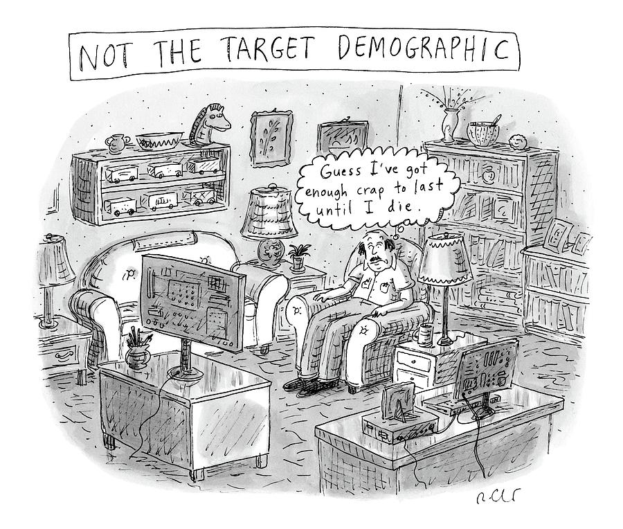 A White, Middle-aged Male Is Deemed: Drawing by Roz Chast