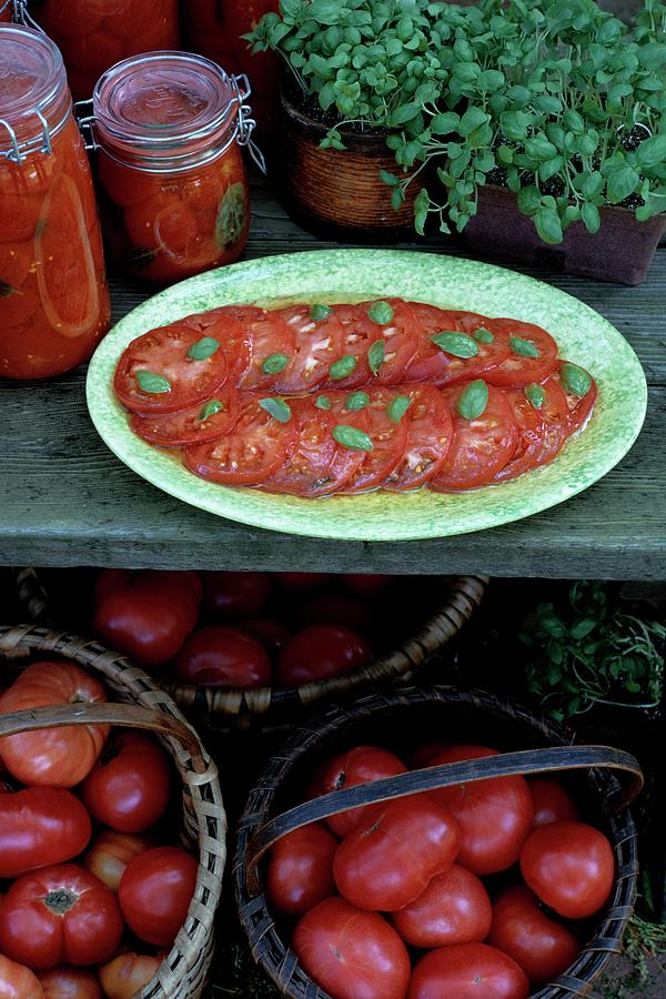 A Wine & Food Cover Of Tomatoes Photograph by Susan Wood