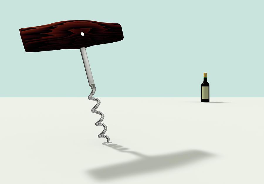 A Wine Opener And Wine Digital Art by Yagi Studio