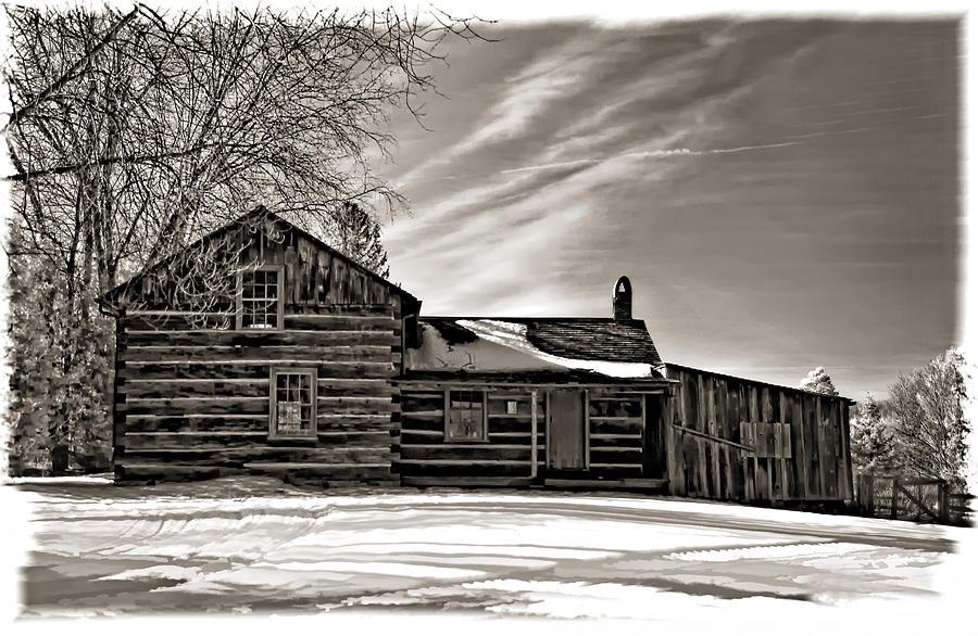 Log Cabin Photograph - A Winter Dream Monchrome by Steve Harrington
