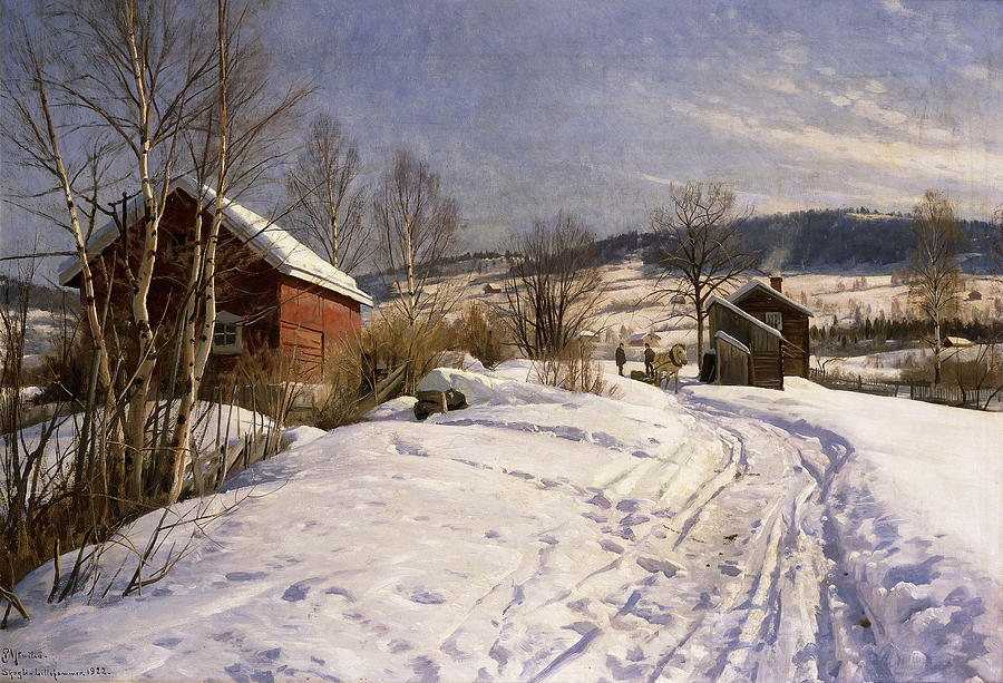 1922 Painting - A Winter Landscape Lillehammer by Peder Monsted