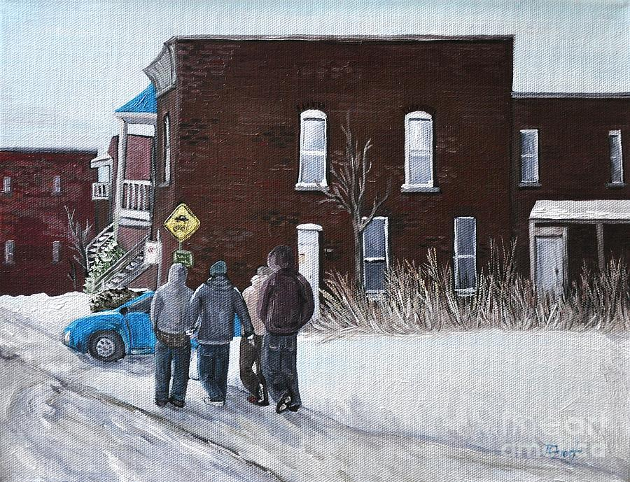 Verdun Winter Scenes Painting - A Winter Walk In Montreal by Reb Frost