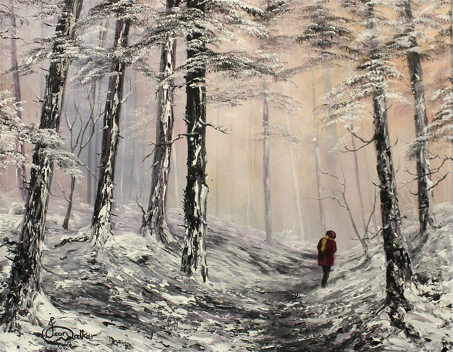 Oil Painting Painting - A Winter Walk by Jean Walker