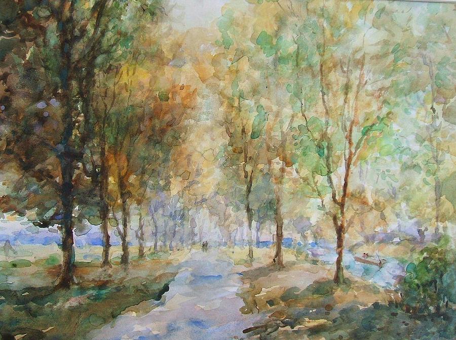 Winter Landscape Painting - A Winter Walk by Malcolm Mason