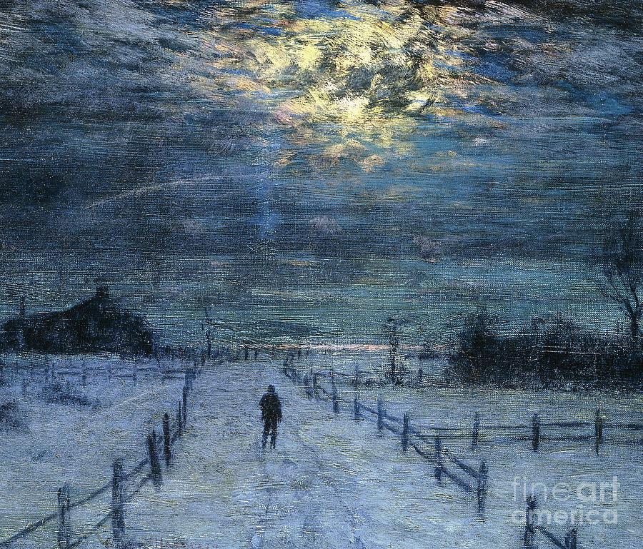 a wintry walk painting by lowell birge harrison