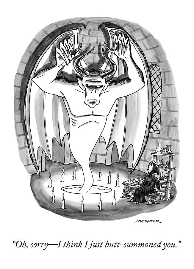 A Witch Speaks To A Demon Sprung From A Seance Drawing by Joe Dator