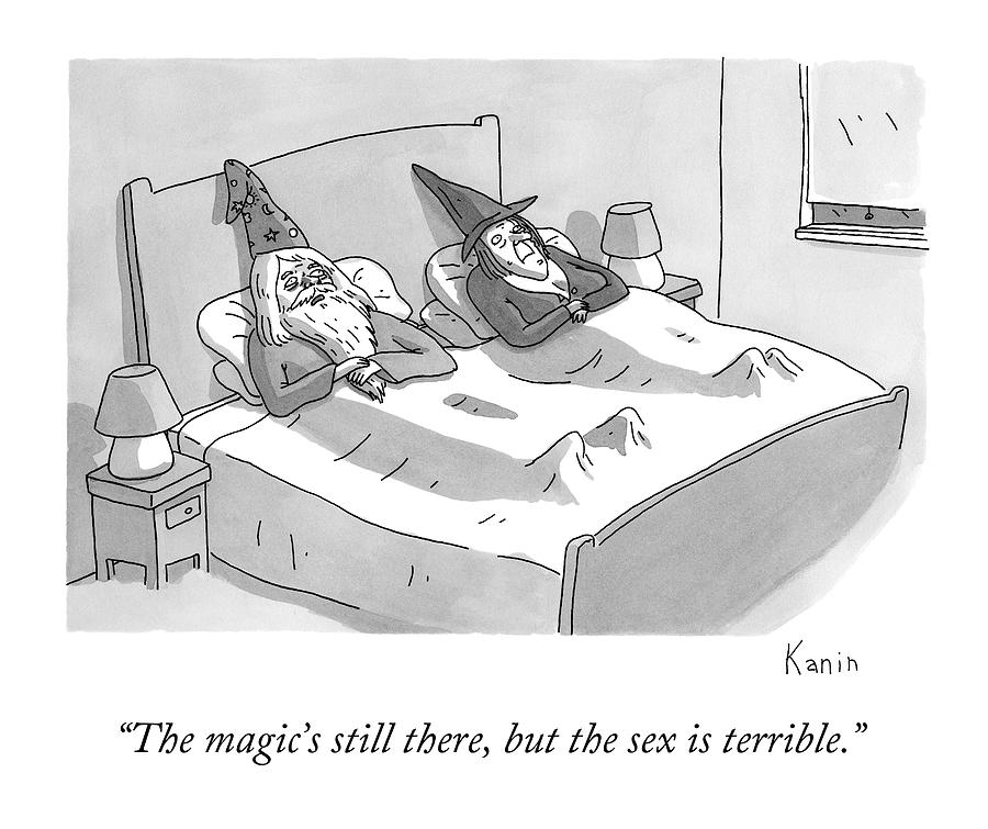 A Wizard And A Witch Lay In Bed Together Drawing by Zachary Kanin