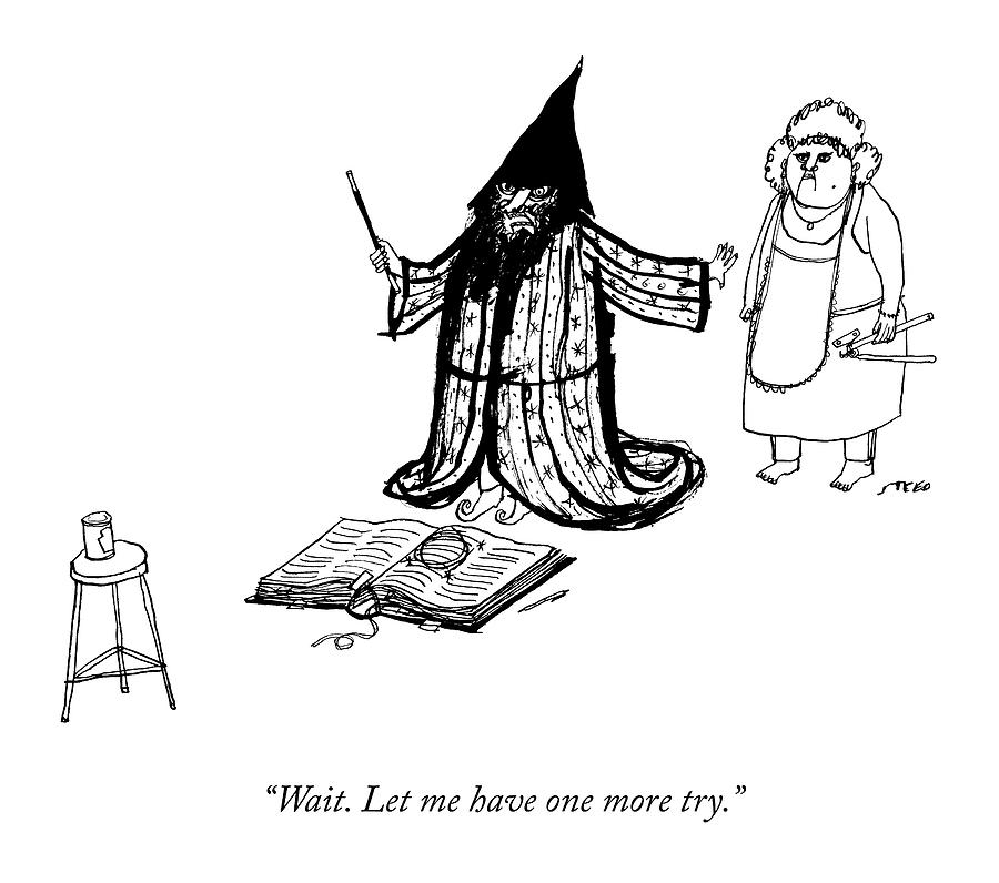 A Wizard Holds His Wife Back From Opening A Can Drawing by Edward Steed