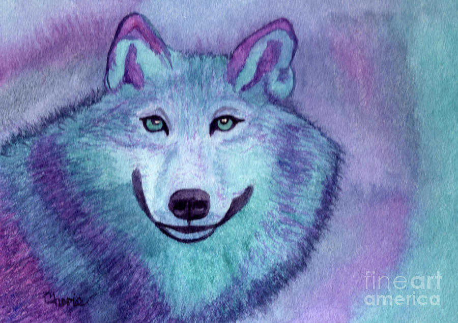 Wolf Painting - A Wolf Of A Different Color by Vikki Wicks