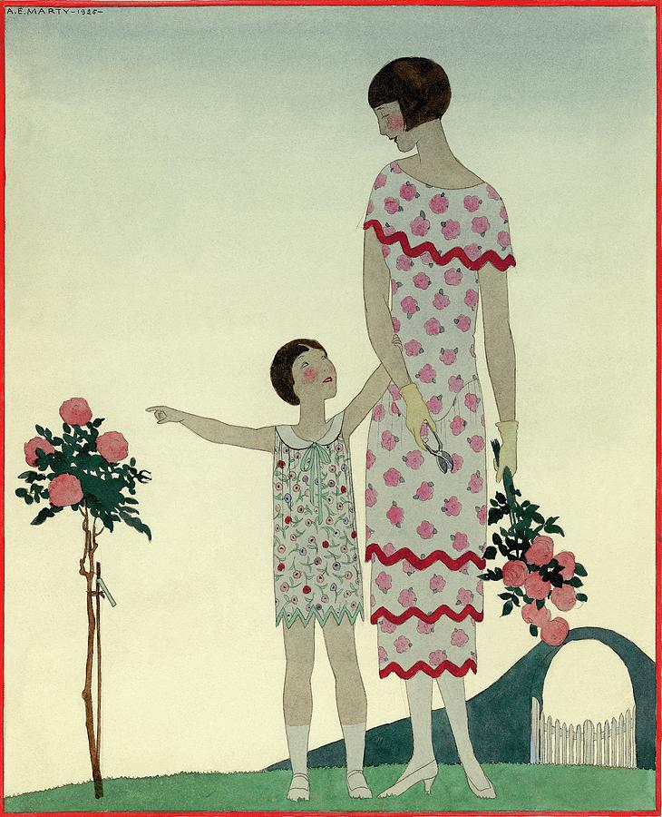 A Woman And A Little Girl Digital Art by Andre E  Marty