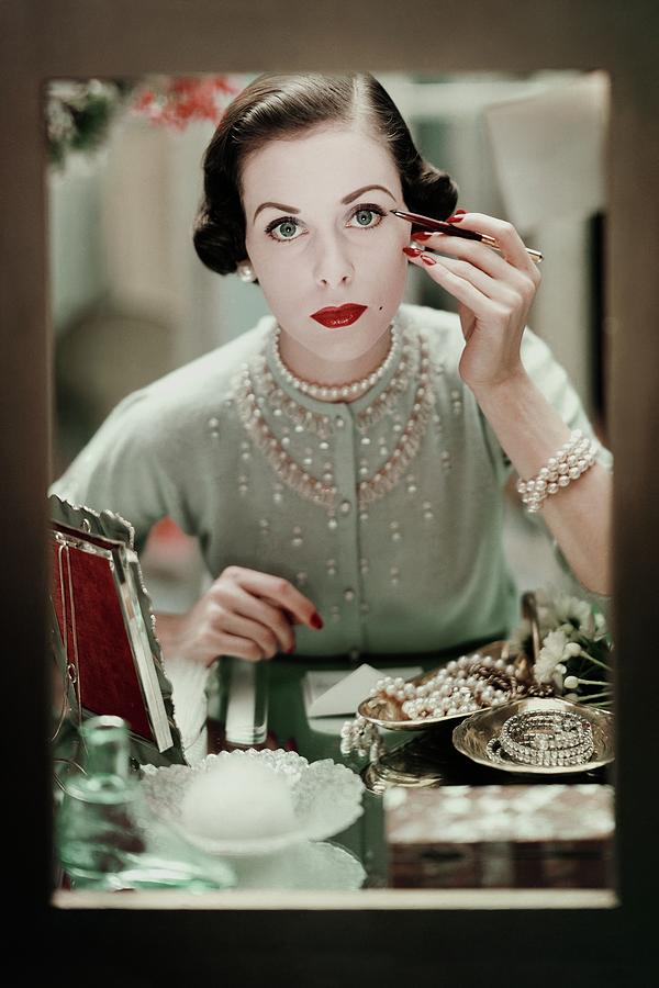 Fashion Photograph - A Woman Applying Make-up by Frances Mclaughlin-Gill