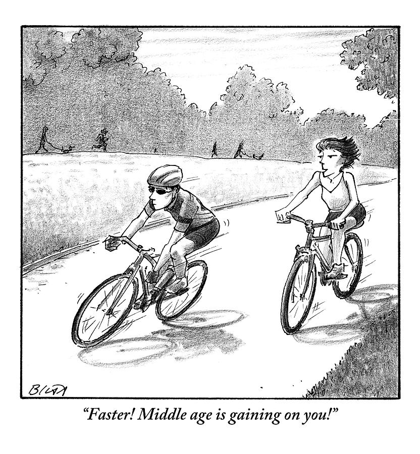 Middle Age Drawing - A Woman Casually Riding A Bicycle Addresses A Man by Harry Bliss
