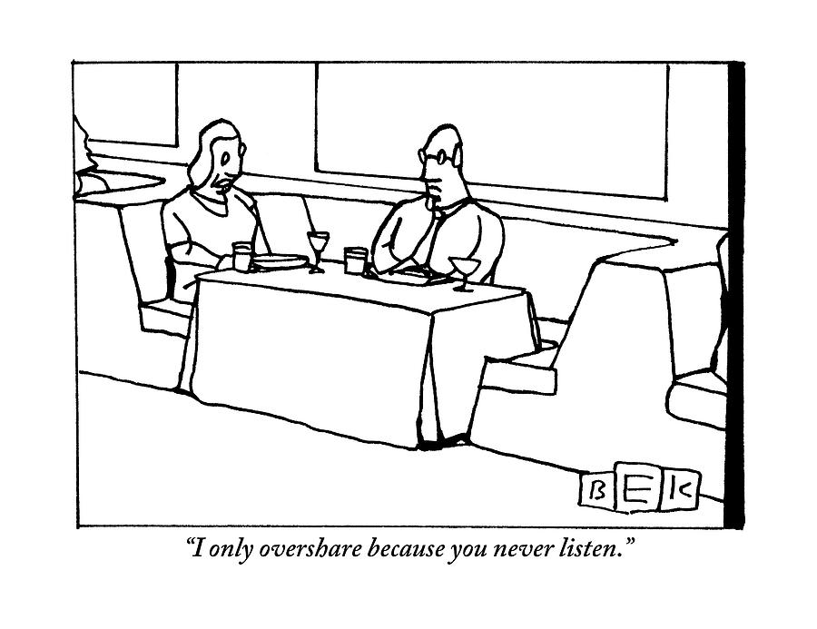 Drawing Lines In A Table : A woman chastising man at dinner table by bruce eric