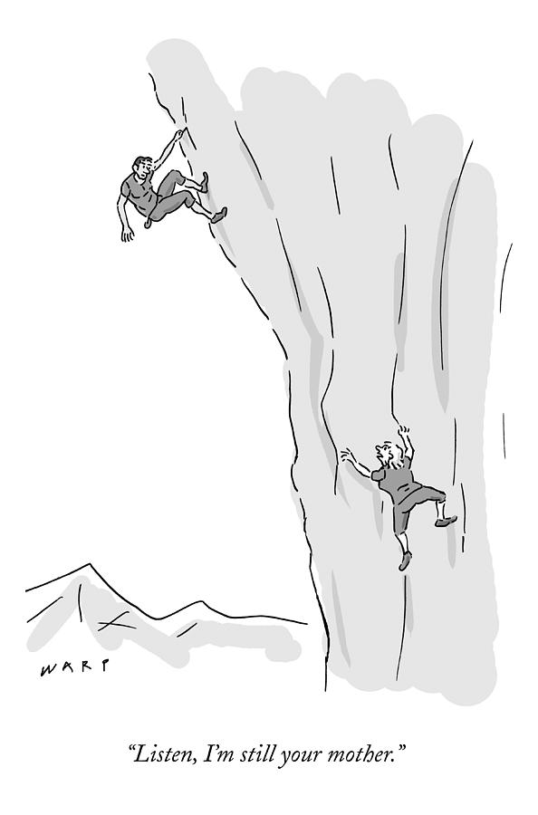 A Woman Climbs After And Calls Out To A Young Drawing by Kim Warp