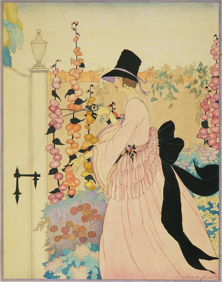 A Woman Cutting Flowers In A Garden Digital Art by Helen Dryden