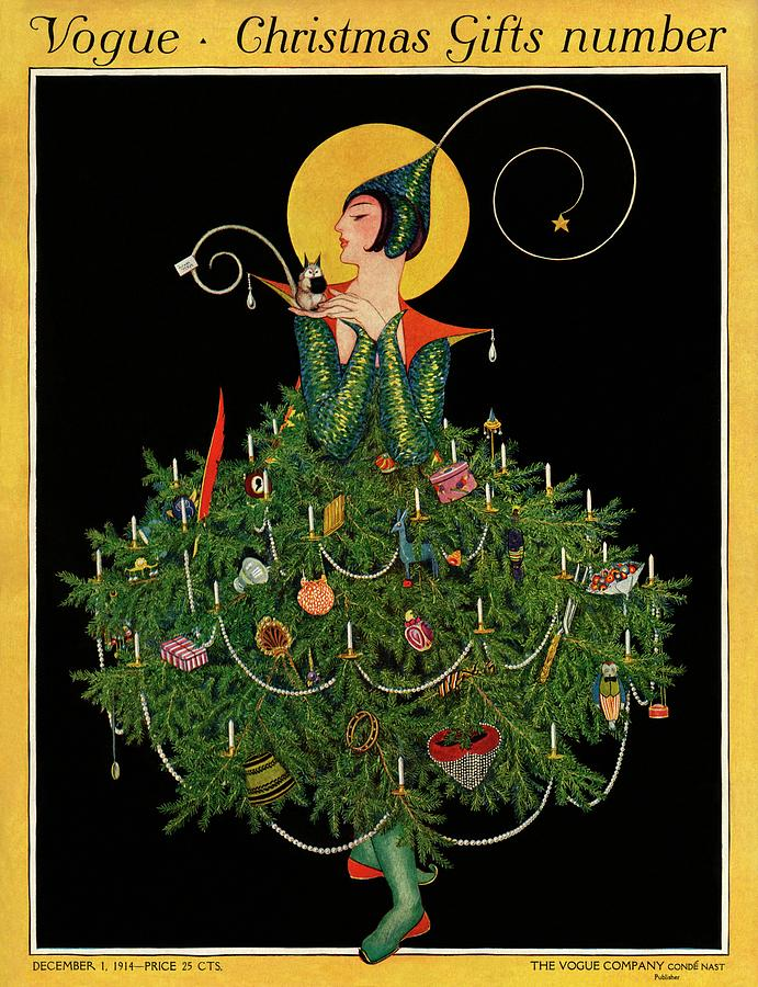 A Woman Dressed As A Christmas Tree Painting by Artist Unknown