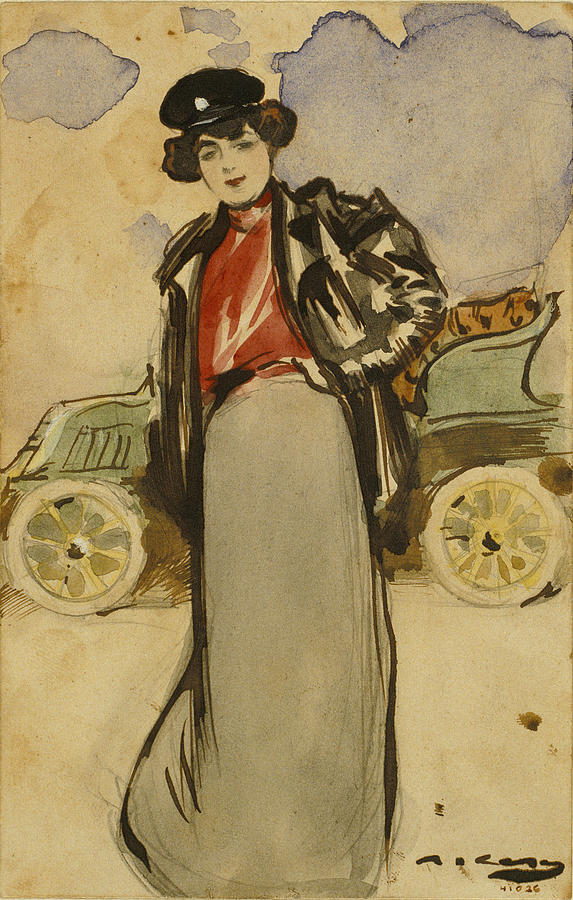 Ramon Casas Drawing - A Woman Driver by Ramon Casas