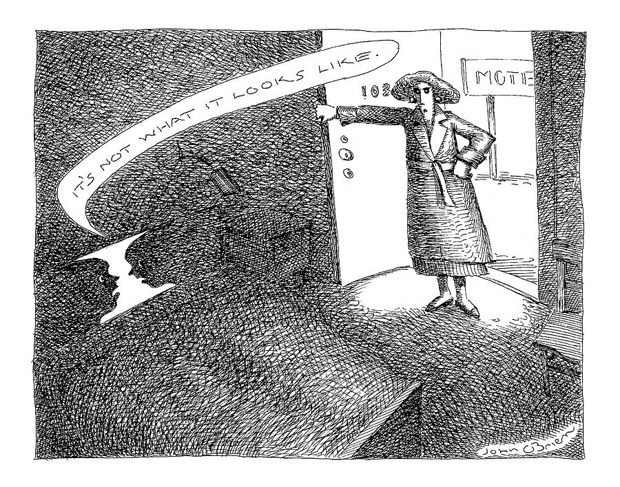 A Woman Enters A Motel Room And Confronts Drawing by John OBrien