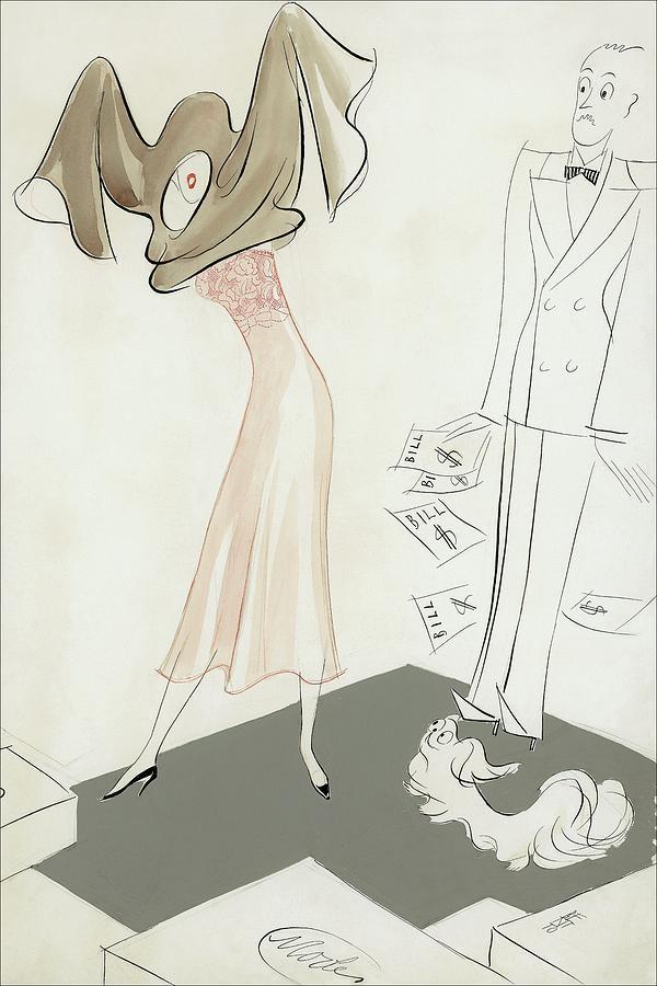 A Woman Hiding From Bills Digital Art by Eduardo Garcia Benito