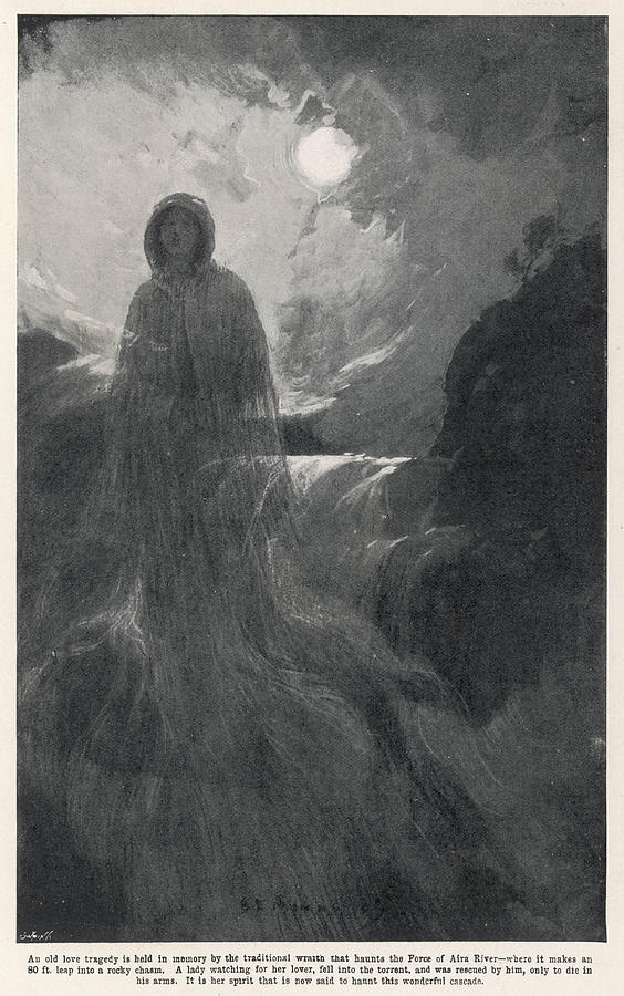 Aira Drawing - A Woman In White Haunts Aira  Force by Mary Evans Picture Library
