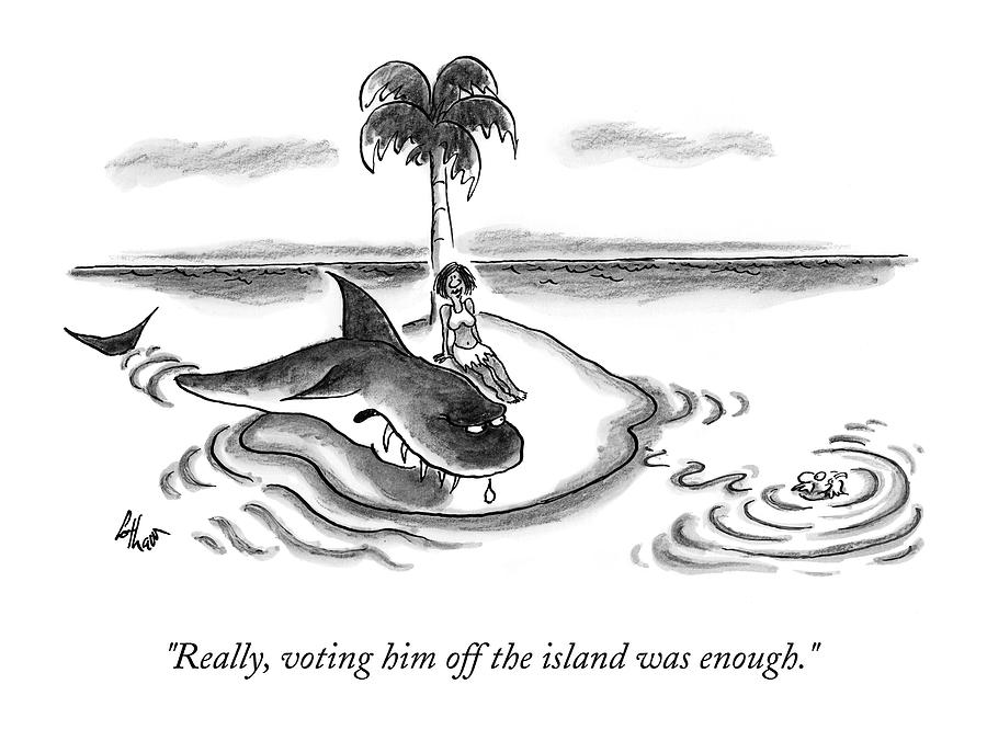 A Woman Is Seen On A Deserted Island With A Shark Drawing by Frank Cotham