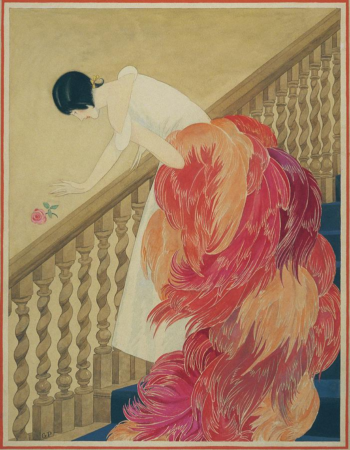 A Woman On A Staircase Digital Art by George Wolfe Plank