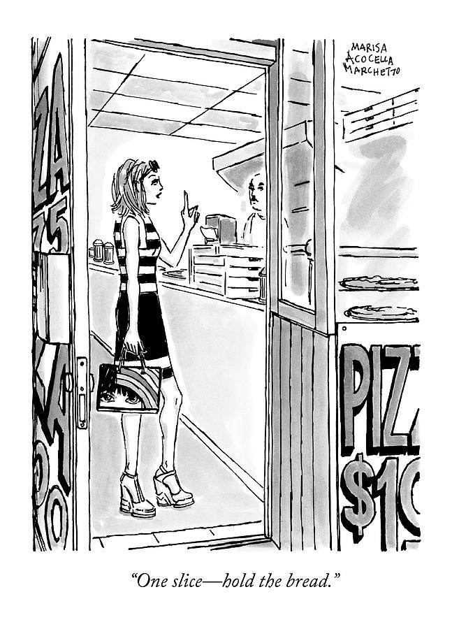 A Woman Orders A Pizza At The Counter Drawing by Marisa Acocella Marchetto