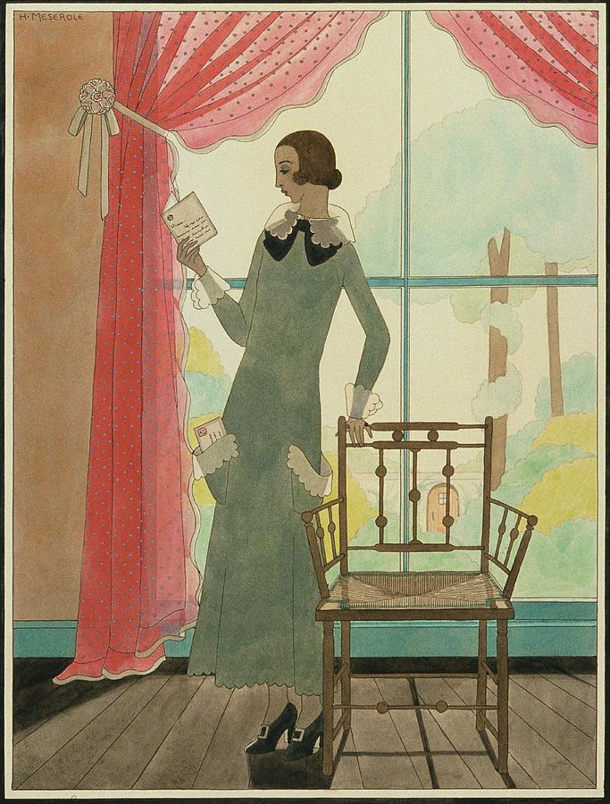 A Woman Reading A Letter Digital Art by Harriet Meserole