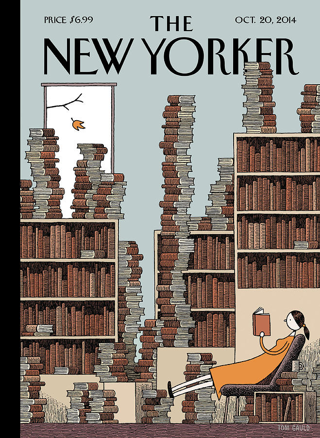 A Woman Reclines In A Room Full Of Books Painting by Tom Gauld