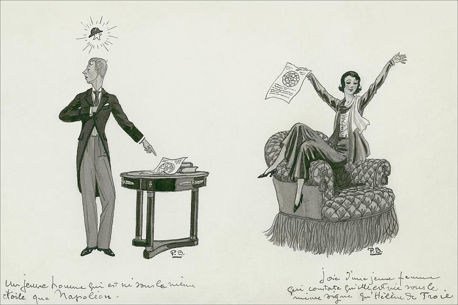 A Woman Sitting On An Armchair And A Man Pointing Digital Art by Pierre Brissaud