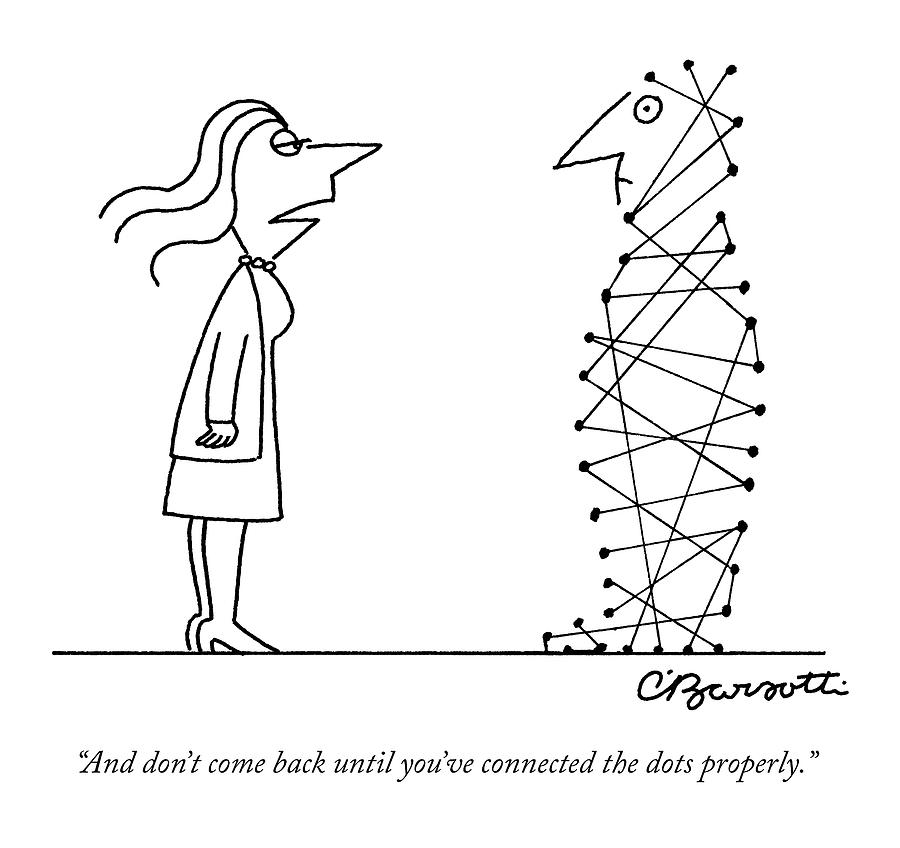 A Woman Speaks To A Man Whose Body Is A Series Drawing by Charles Barsotti