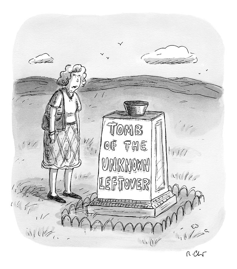 A Woman Stands In Front Of A Tomb With A Bowl Drawing by Roz Chast
