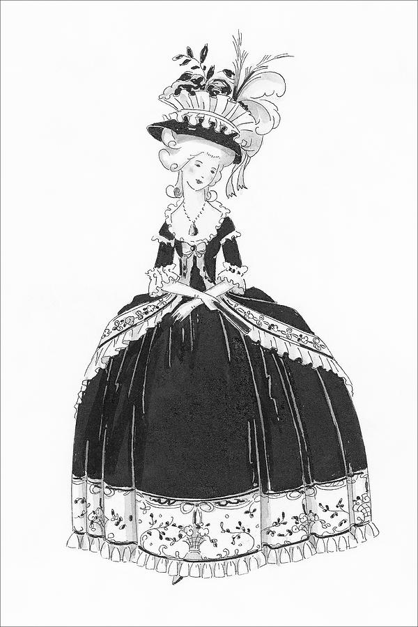A Woman Styled Like Marie Antoinette Digital Art by Claire Avery