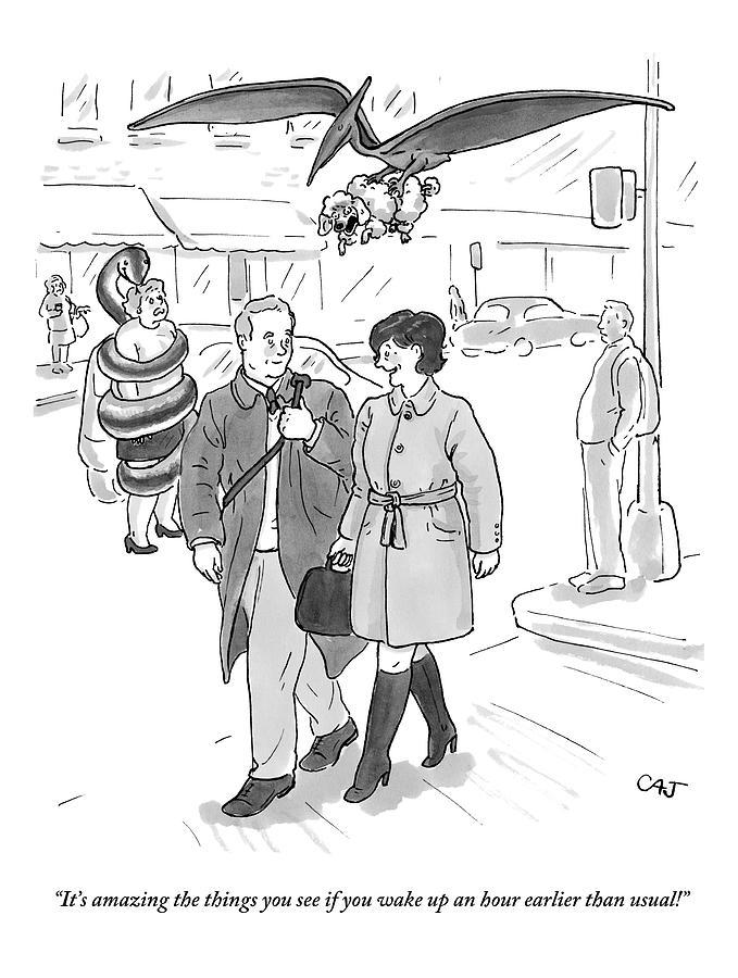 A Woman Talks To A Man As A Dinosaur And A Snake Drawing by Carolita Johnson