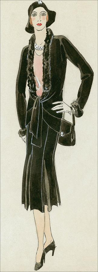 Fashion Digital Art - A Woman Wearing A Black Suit by David